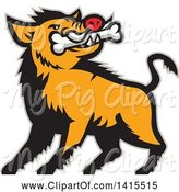 Swine Clipart of Cartoon Retro Wild Boar Pig with a Bone in Its Mouth, with a Gray Outline by Patrimonio