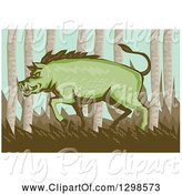 Swine Clipart of Cartoon Retro Woodcut Green Razorback Boar Pig in the Woods, with a White Border by Patrimonio