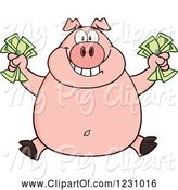 Swine Clipart of Cartoon Rich Happy Pig Holding Cash Money by Hit Toon