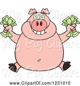 Swine Clipart of Cartoon Rich Happy Pig with Dollar Eyes, Holding Cash Money by Hit Toon