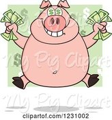 Swine Clipart of Cartoon Rich Pig with Dollar Eyes, Holding Cash Money by Hit Toon