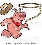 Swine Clipart of Cartoon Rodeo Pig Running with a Lasso by Cory Thoman