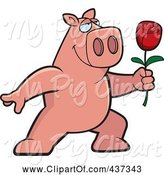 Swine Clipart of Cartoon Romantic Pig Presenting a Single Rose by Cory Thoman