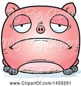 Swine Clipart of Cartoon Sad Pig Character Mascot by Cory Thoman