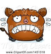 Swine Clipart of Cartoon Scared Boar Character Mascot by Cory Thoman