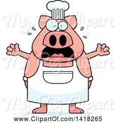 Swine Clipart of Cartoon Scared Chef Pig Screaming by Cory Thoman