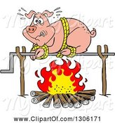Swine Clipart of Cartoon Scared Pig on a Spit over a Fire by LaffToon