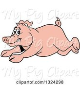 Swine Clipart of Cartoon Scared Pig Running by LaffToon