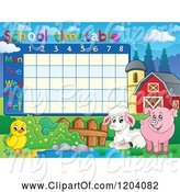Swine Clipart of Cartoon School Time Table with Farm Animals by Visekart