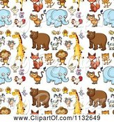 Swine Clipart of Cartoon Seamless Cute Animal Background Pattern 1 by Graphics RF