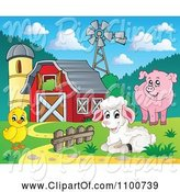 Swine Clipart of Cartoon Sheep Chicken Pig by a Red Barn Silo and Windmill by Visekart