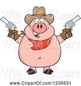 Swine Clipart of Cartoon Shooting Cowboy Pig by Hit Toon