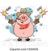 Swine Clipart of Cartoon Shooting Cowboy Pig Smoking a Cigar by Hit Toon