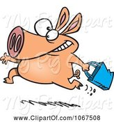 Swine Clipart of Cartoon Shopping Pig by Toonaday
