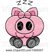 Swine Clipart of Cartoon Sleeping Piglet by Cory Thoman