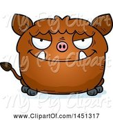 Swine Clipart of Cartoon Sly Boar Character Mascot by Cory Thoman