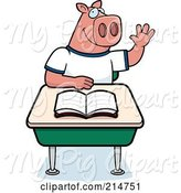 Swine Clipart of Cartoon Smart Pig Student Raising His Hand in Class by Cory Thoman