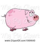 Swine Clipart of Cartoon Smiling Piggy by Hit Toon
