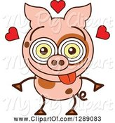 Swine Clipart of Cartoon Smitten and Amorous Pig in Love by Zooco