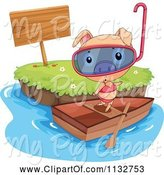 Swine Clipart of Cartoon Snorkel Pig in a Bikini on a Boat by an Island by Graphics RF