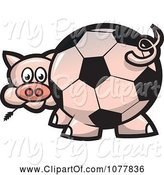 Swine Clipart of Cartoon Soccer Ball Butt Pig by Jtoons
