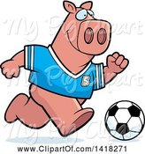 Swine Clipart of Cartoon Sporty Pig Playing Soccer by Cory Thoman