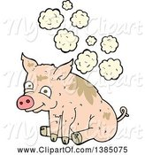 Swine Clipart of Cartoon Stinky Pink Pig by Lineartestpilot