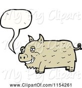 Swine Clipart of Cartoon Talking Pig by Lineartestpilot
