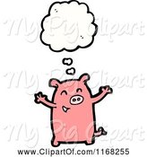 Swine Clipart of Cartoon Thinking Pig by Lineartestpilot