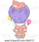 Swine Clipart of Cartoon Three Cute Pigs with Ice Cream a Hot Air Balloon and Helium Balloons by BNP Design Studio