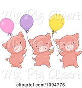 Swine Clipart of Cartoon Three Cute Pigs with Ice Cream and Balloons by BNP Design Studio