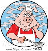 Swine Clipart of Cartoon Tired Chef Bbq Pig Holding a Spatula and Surrounded by Smoke in a Blue Circle by LaffToon
