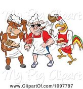 Swine Clipart of Cartoon Tough Cow Pig and Rooster Chefs Holding Poultry Pork and Beef by LaffToon