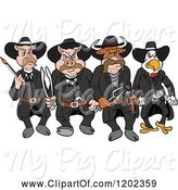 Swine Clipart of Cartoon Tough Cow Rooster and Pig Lawmen Walking Forward with Bbq Tools by LaffToon