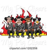 Swine Clipart of Cartoon Tough Cow Rooster and Pig Lawmen Walking in Front of Flames with Bbq Tools by LaffToon