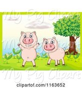 Swine Clipart of Cartoon Two Pigs by Seedling Plants by Graphics RF