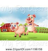 Swine Clipart of Cartoon Two Pigs in a Pasture near a Barn by Graphics RF