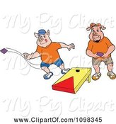 Swine Clipart of Cartoon Two Pigs Playing Cornhole Bean Bag Toss by LaffToon