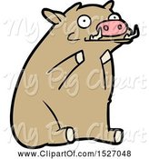 Swine Clipart of Cartoon Warthog by Lineartestpilot