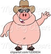 Swine Clipart of Cartoon Waving Pig with Sunglasses and a Cowboy Hat by Hit Toon