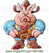 Swine Clipart of Cartoon Western Sheriff Pig by Zooco