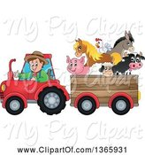 Swine Clipart of Cartoon White Male Farmer Driving a Tractor and Pulling Livestock Animals in a Cart by Visekart