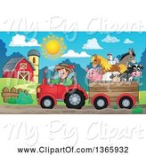 Swine Clipart of Cartoon White Male Farmer Driving a Tractor and Pulling Livestock Animals in a Cart near a Barn by Visekart