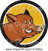 Swine Clipart of Cartoon Wild Razorback Boar Head in a Black White and Yellow Circle by Patrimonio