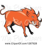 Swine Clipart of Cartoon Wild Razorback Boar Pig by Patrimonio