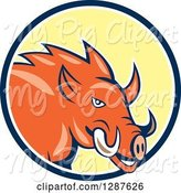 Swine Clipart of Cartoon Wild Razorback Boar Pig in a Blue White and Yellow Circle by Patrimonio