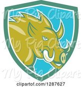 Swine Clipart of Cartoon Wild Razorback Boar Pig in a Turquoise White and Blue Shield by Patrimonio
