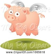 Swine Clipart of Cartoon Winged Pig in Flight 3 by Qiun