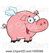 Swine Clipart of Cartoon Winged Pig Smiling and Flying by Hit Toon