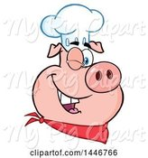 Swine Clipart of Cartoon Winking Chef Pig Wearing a Bandana and Toque Hat by Hit Toon